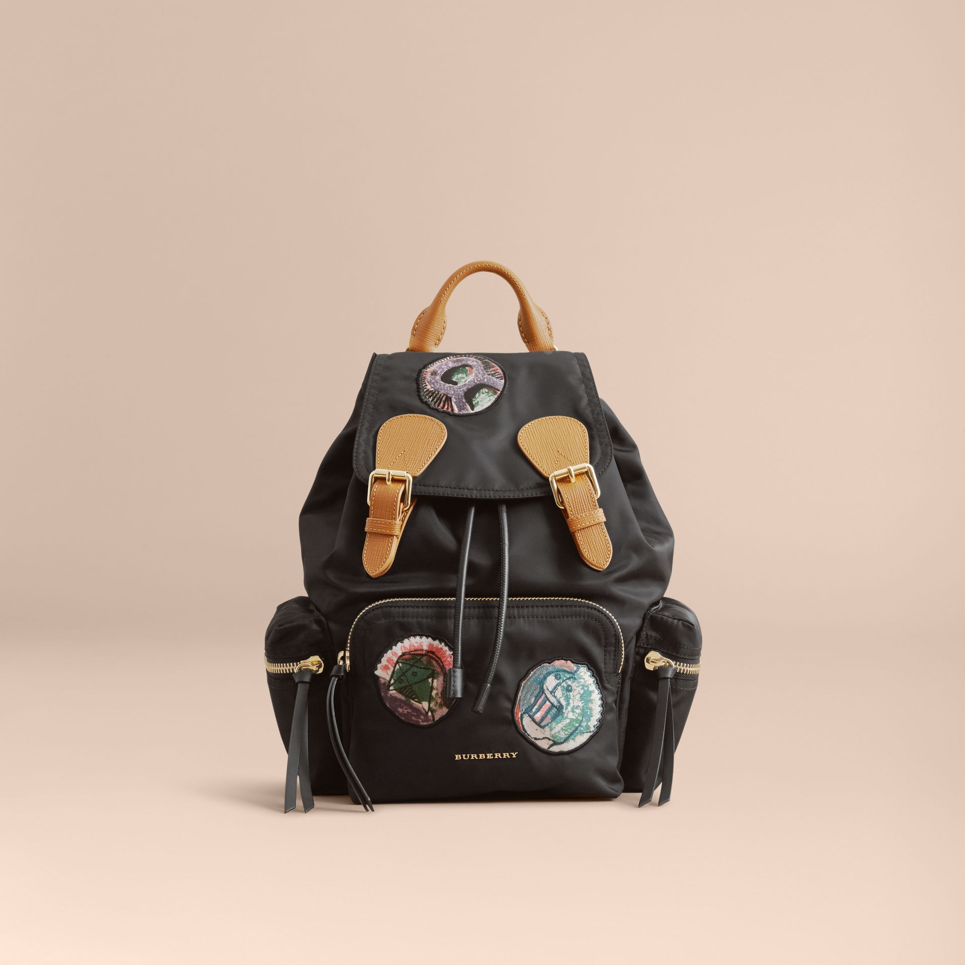 The Medium Rucksack in Technical Nylon with Pallas Heads Appliqué Black - gallery image 7