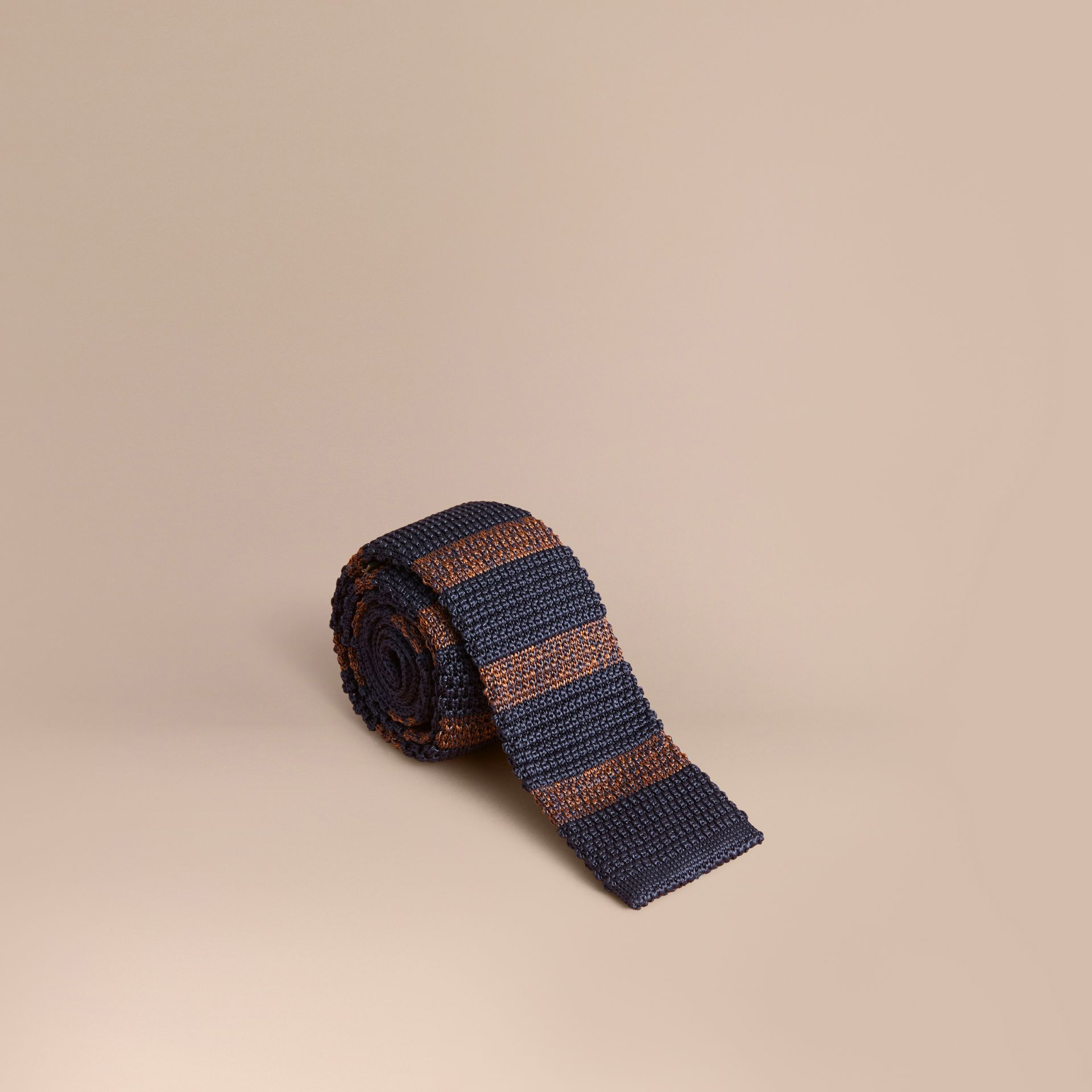 Slim Cut Two-tone Knitted Silk Tie in Navy - gallery image 1