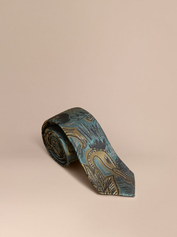 Slim Cut Beasts Jacquard Silk Tie in Sage Green