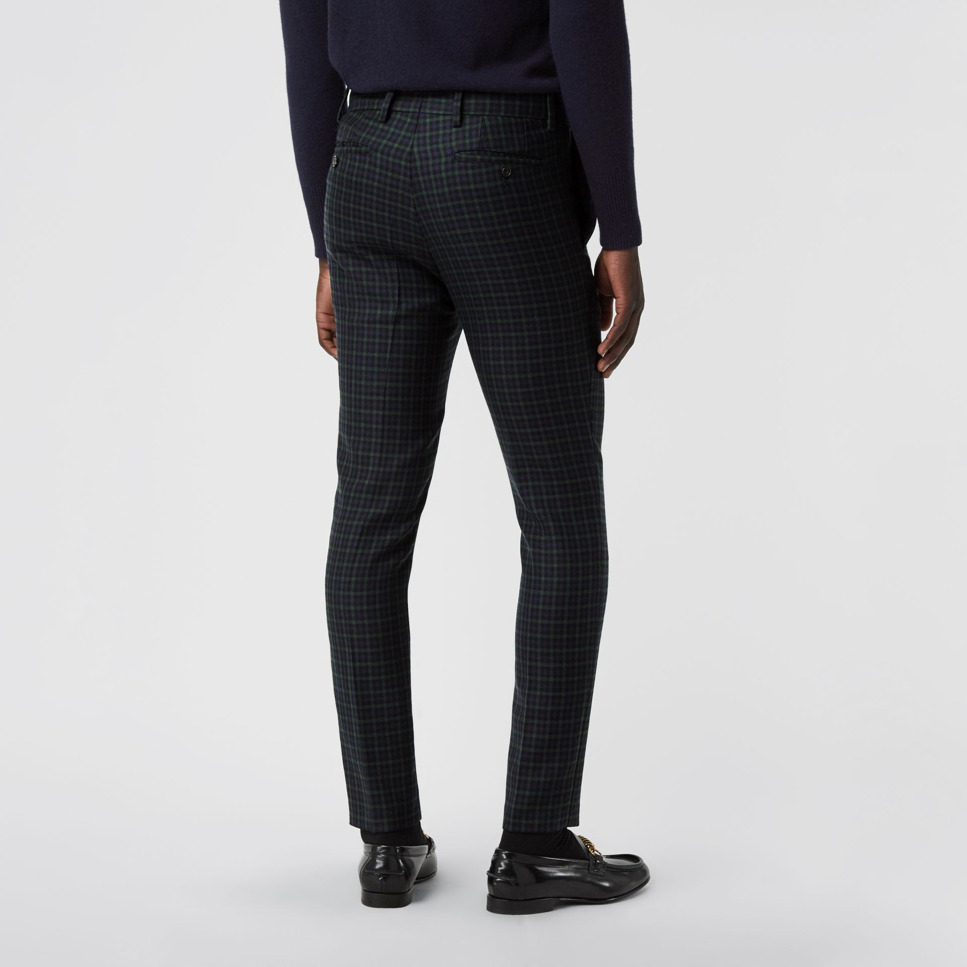 Slim Fit Tartan Wool Tailored Trousers in Navy - Men | Burberry - gallery image 2