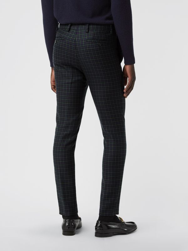 Slim Fit Tartan Wool Tailored Trousers in Navy - Men | Burberry Australia - cell image 2
