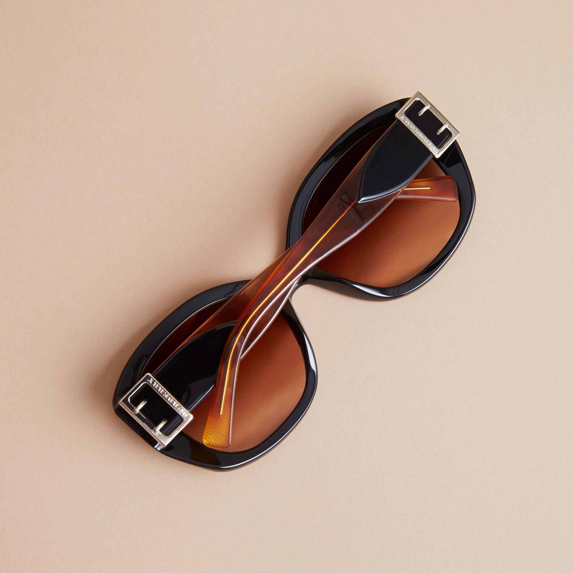 Buckle Detail Oversize Square Frame Sunglasses in Black - Women | Burberry - gallery image 3