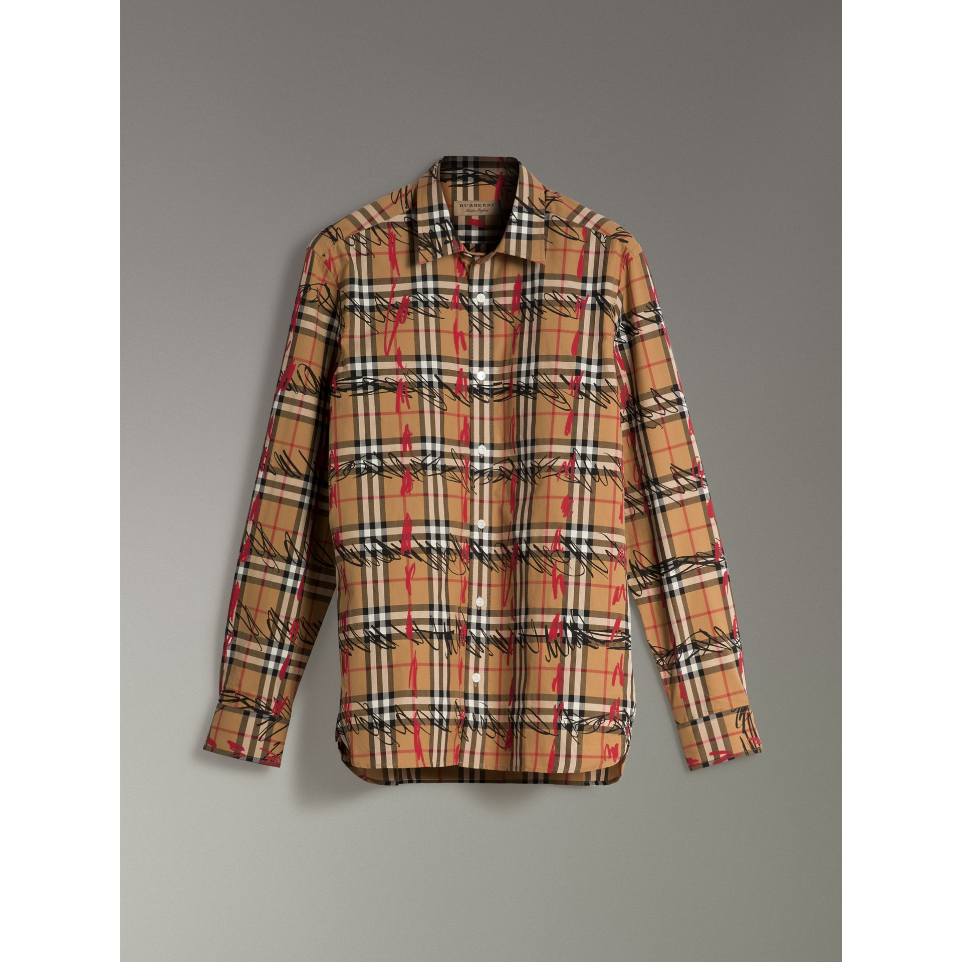 Scribble Check Cotton Shirt in Antique Yellow - Men | Burberry United Kingdom - gallery image 3