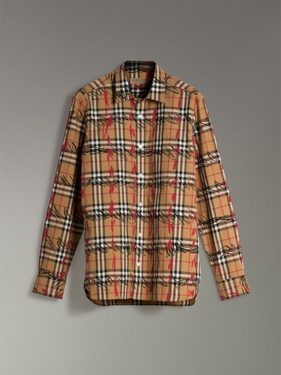 Scribble Check Cotton Shirt in Antique Yellow - Men | Burberry United Kingdom - cell image 3