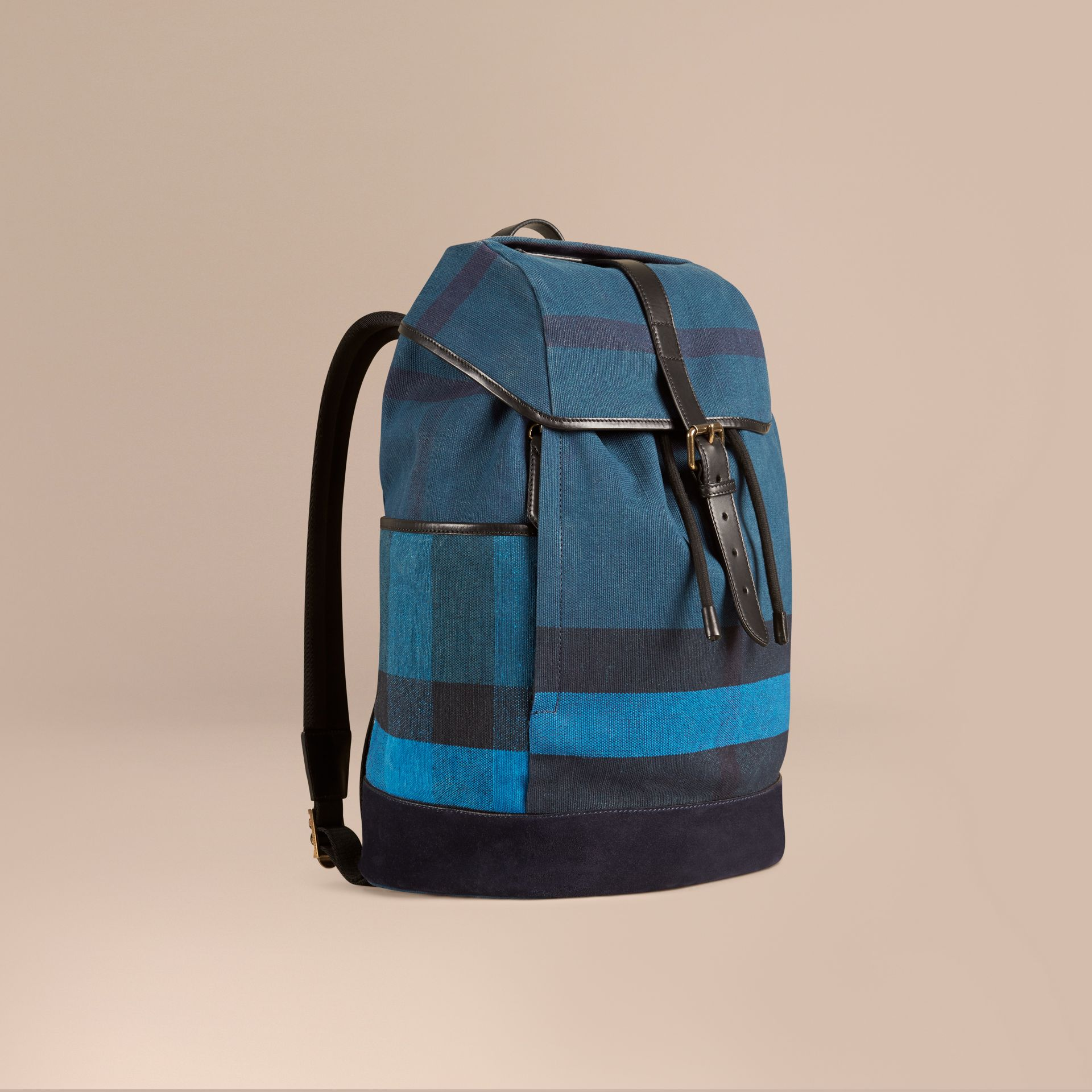 Ultramarine blue Colour Block Canvas Check Backpack - gallery image 1