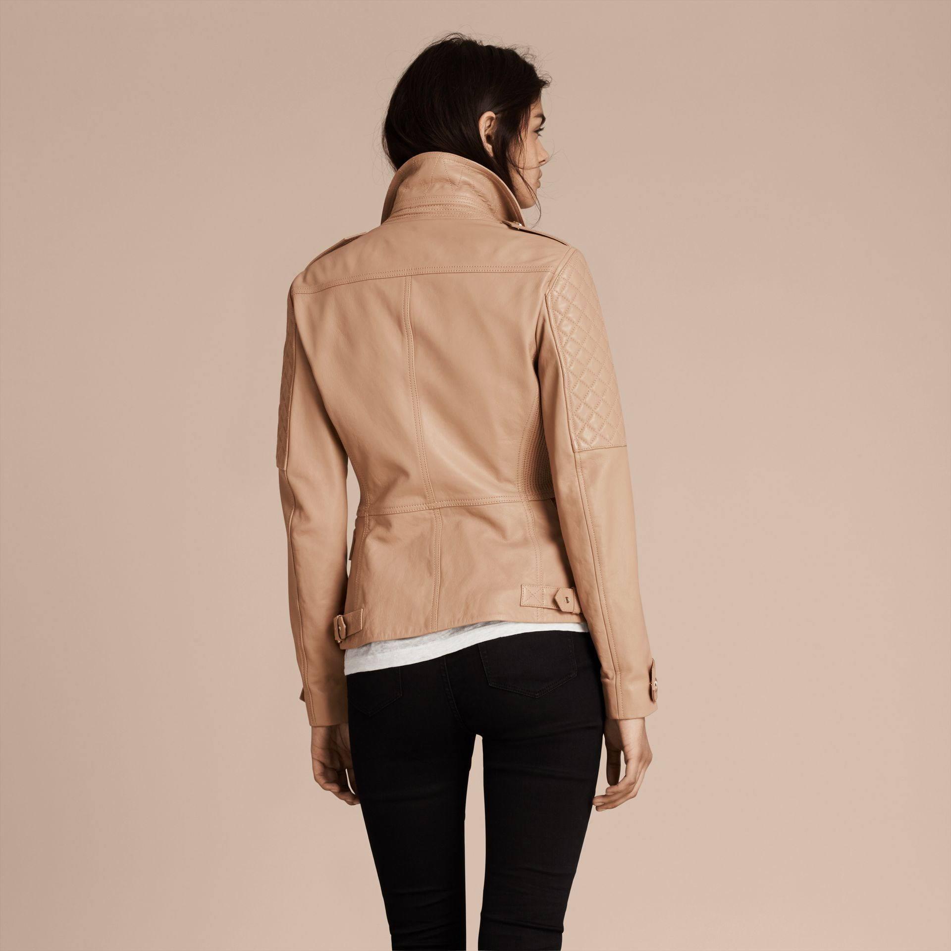 Honey Fitted Lambskin Biker Jacket - gallery image 3