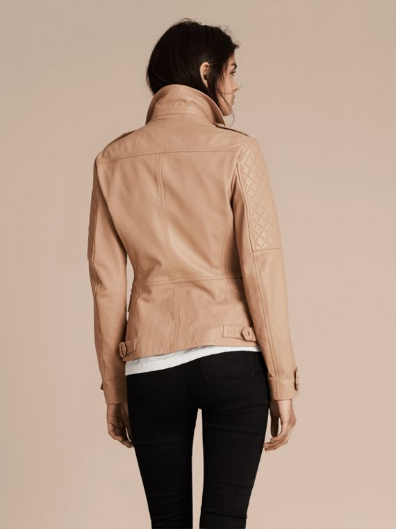 Honey Fitted Lambskin Biker Jacket - cell image 2