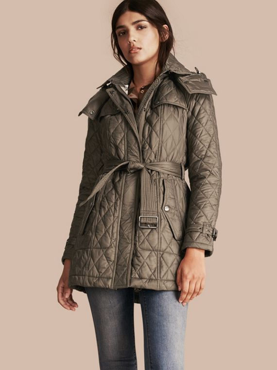 Diamond Quilted Coat Mink Grey