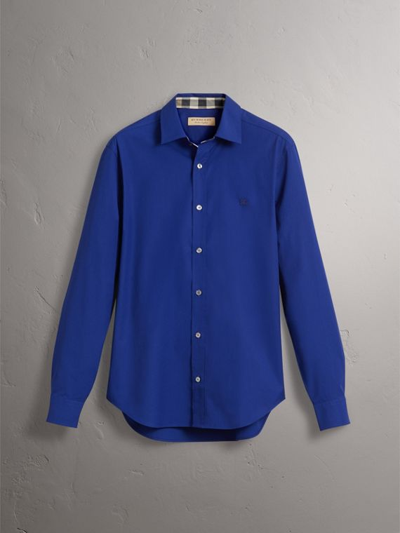 Check Detail Stretch Cotton Poplin Shirt in Bright Navy