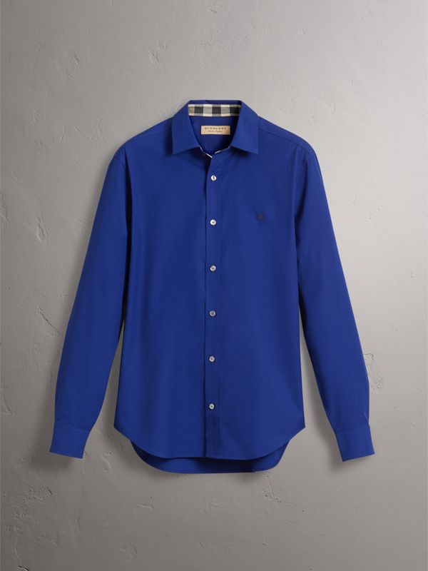 Check Detail Stretch Cotton Poplin Shirt in Bright Navy - Men | Burberry - cell image 3
