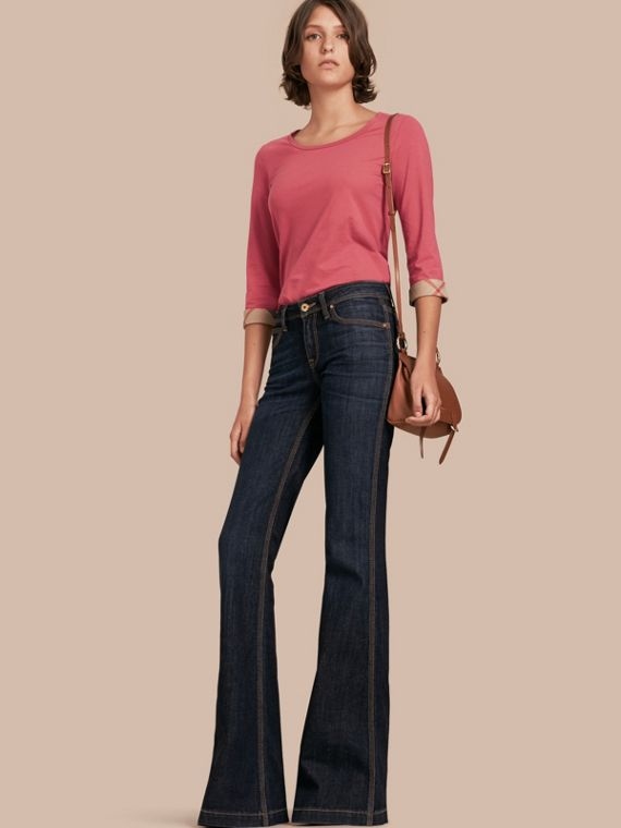 Three-quarter Sleeved Stretch Cotton T-shirt with Check Trim in Pink Azalea
