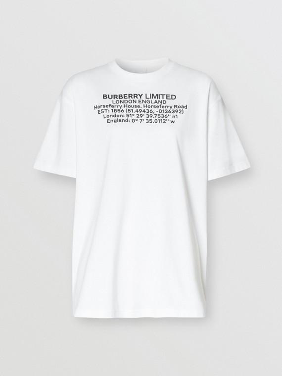 Camiseta oversize de algodão com estampa geográfica (Branco)