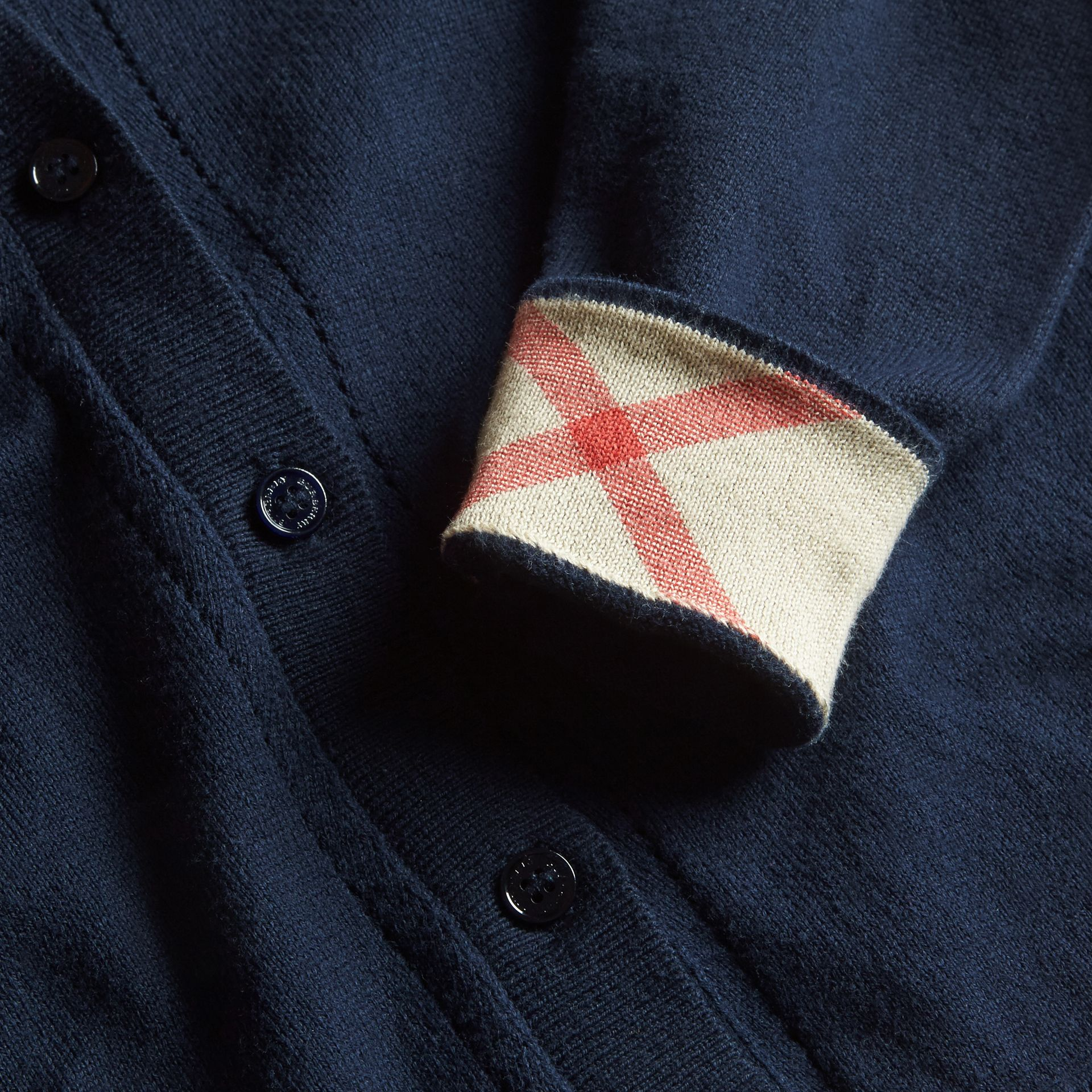 Check Cuff Cotton Knit Cardigan in Navy - Girl | Burberry - gallery image 2
