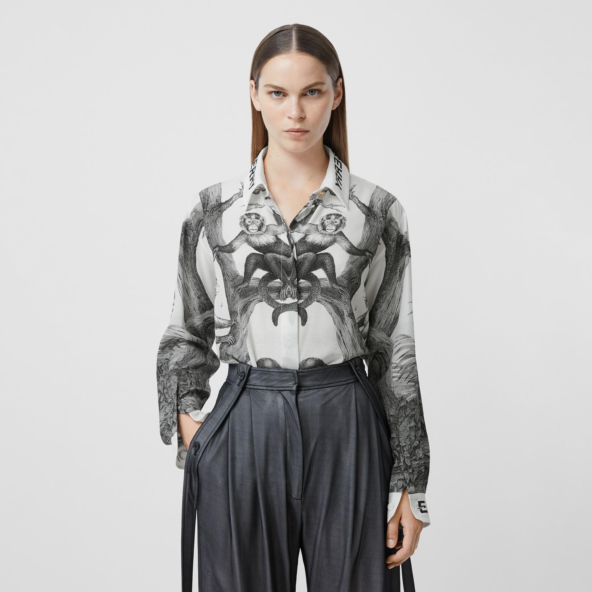 Montage Print Silk Shirt in Monochrome - Women | Burberry - gallery image 5