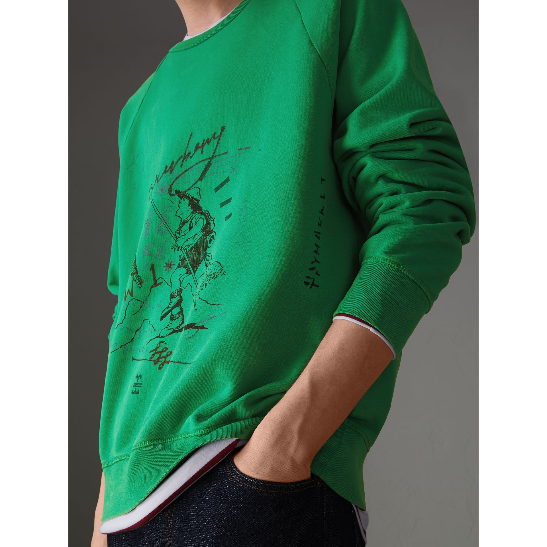 Adventure Print Cotton Sweatshirt in Bright Green - Men | Burberry Hong Kong - gallery image 1