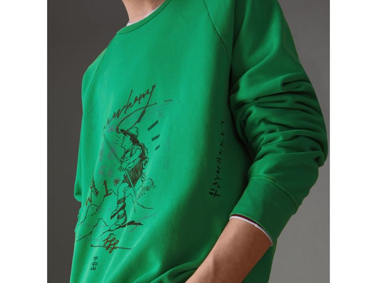 Adventure Print Cotton Sweatshirt in Bright Green - Men | Burberry United States - cell image 1