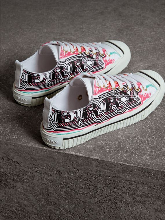 Doodle Print Coated Cotton Sneakers in Optic White - Women | Burberry - cell image 3