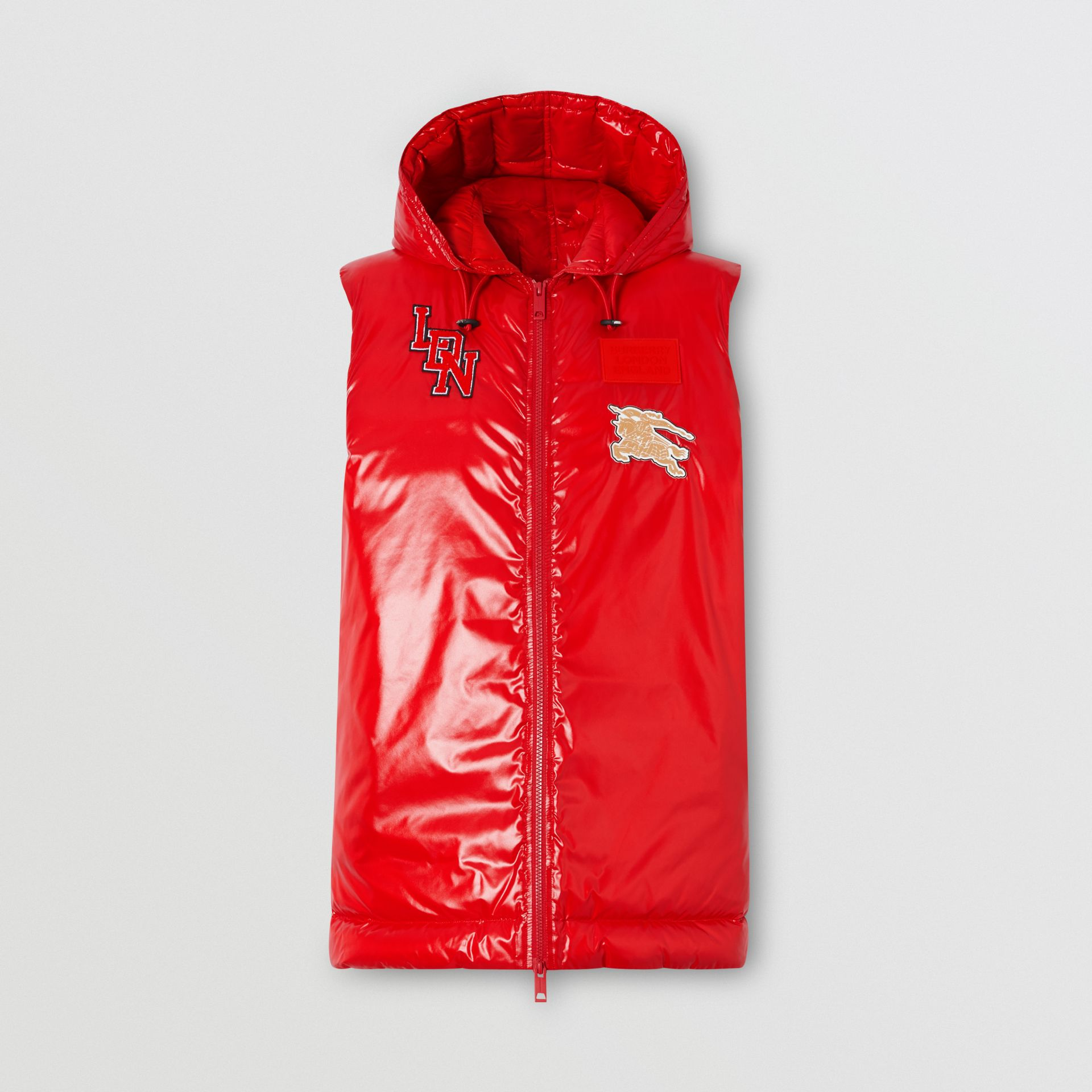 Logo Graphic Puffer Gilet in Bright Red - Women | Burberry - gallery image 3