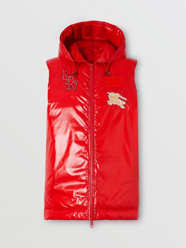 Logo Graphic Puffer Gilet in Bright Red - Women | Burberry - cell image 3