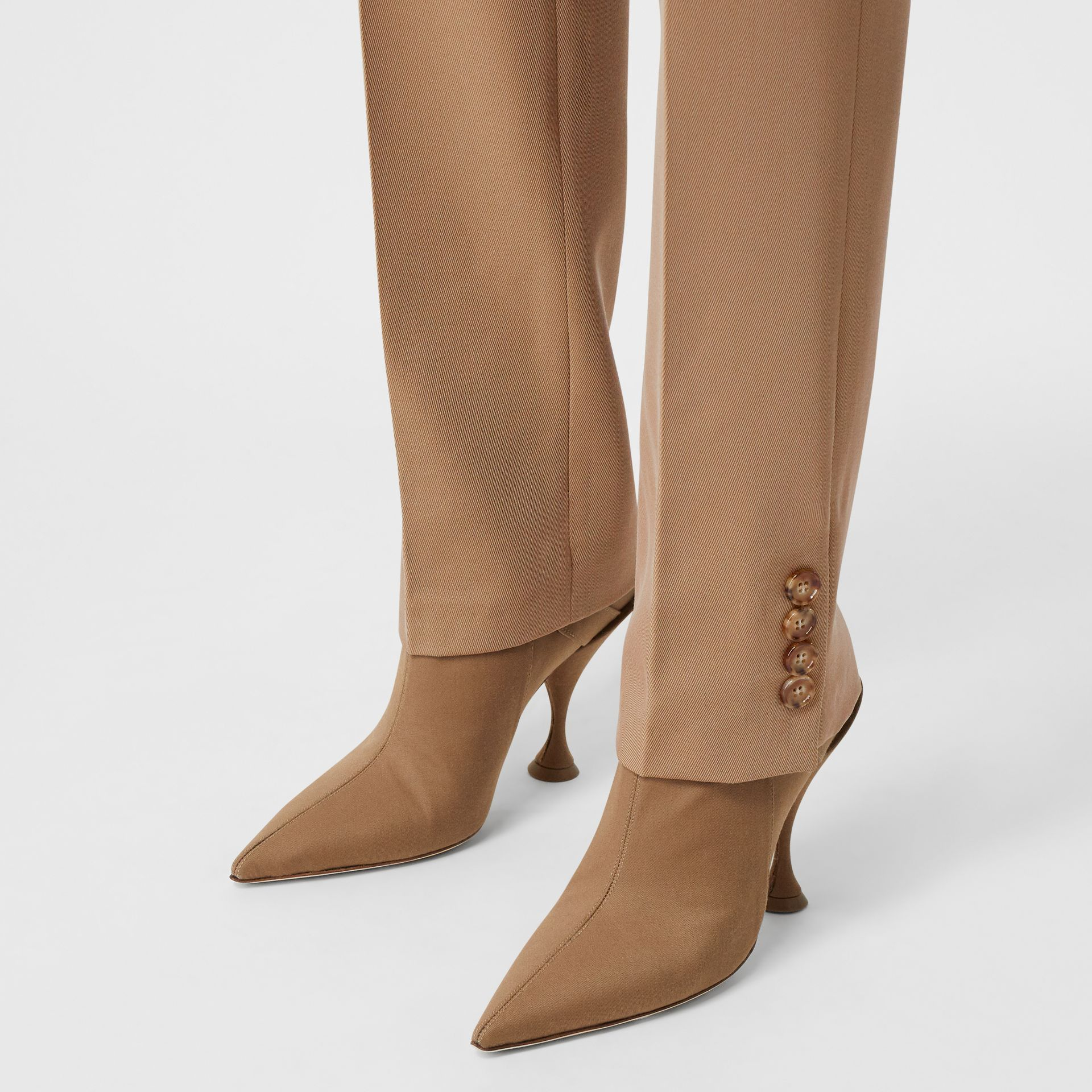 Straight Fit Button Detail Wool Blend Tailored Trousers in Camel - Women | Burberry - gallery image 5