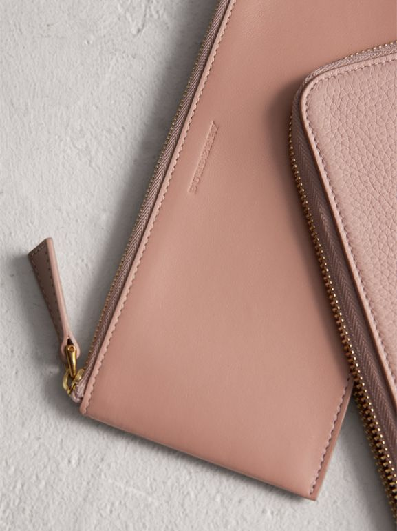Embossed Leather Travel Wallet in Pale Ash Rose | Burberry - cell image 1