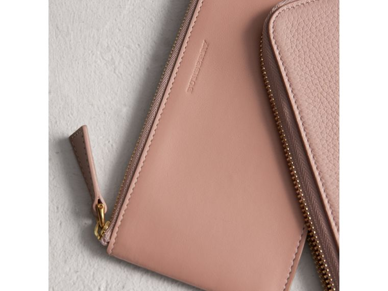 Embossed Leather Travel Wallet in Pale Ash Rose | Burberry United Kingdom - cell image 1