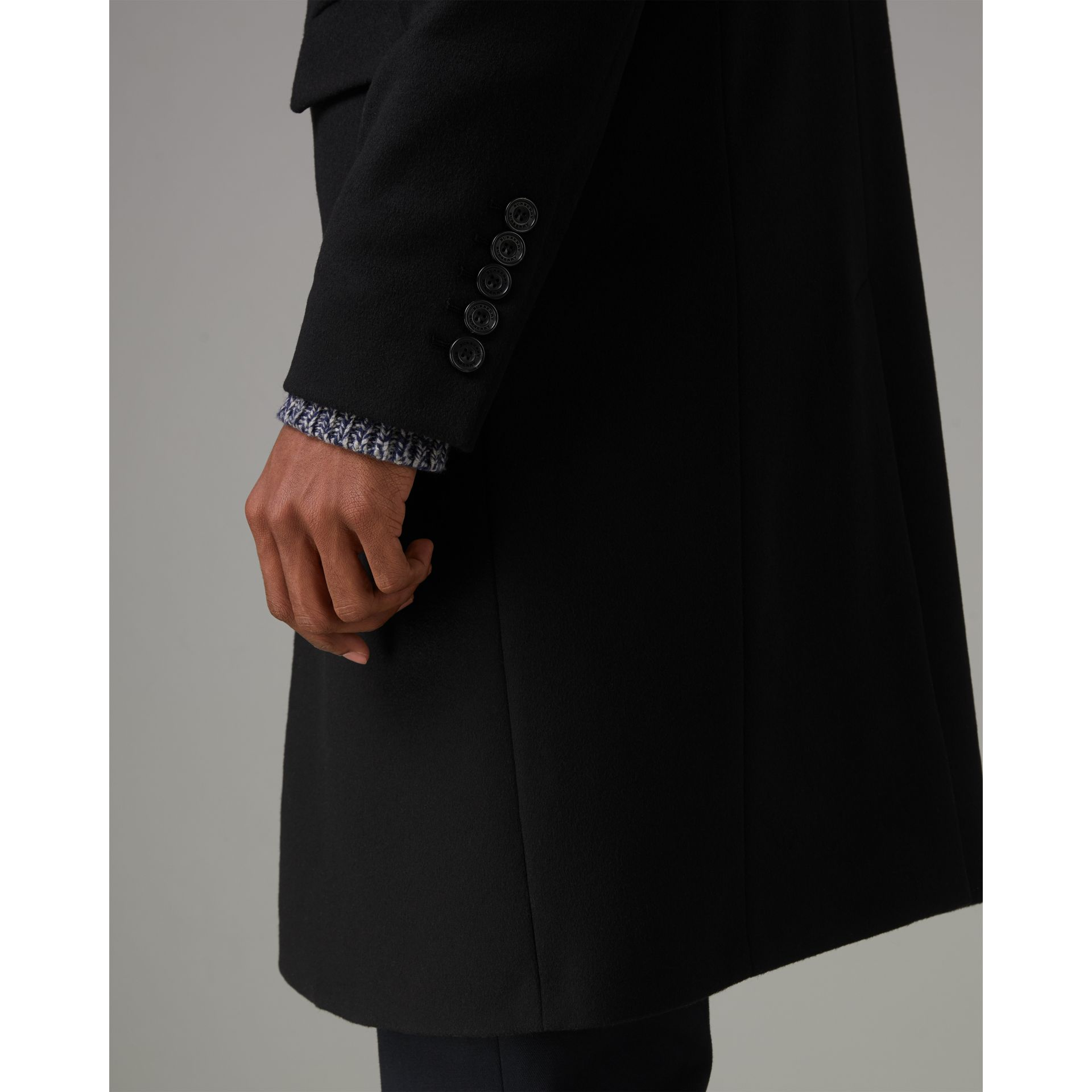 Wool Cashmere Tailored Coat in Black - Men | Burberry - gallery image 1
