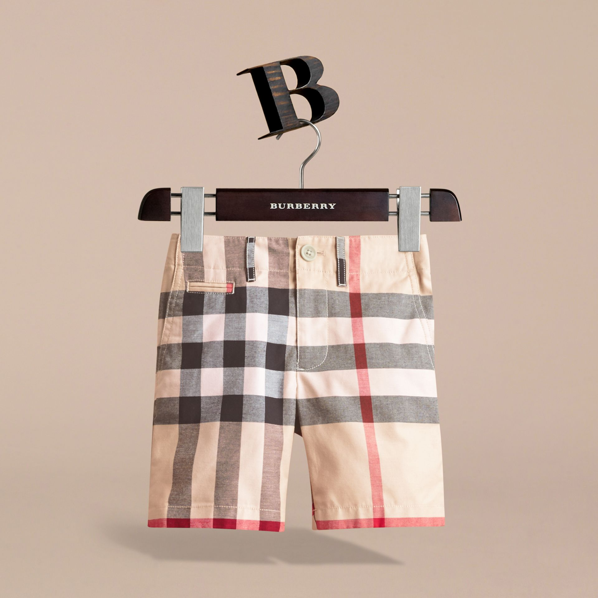 Check Cotton Chino Shorts in Stone - Boy | Burberry - gallery image 3