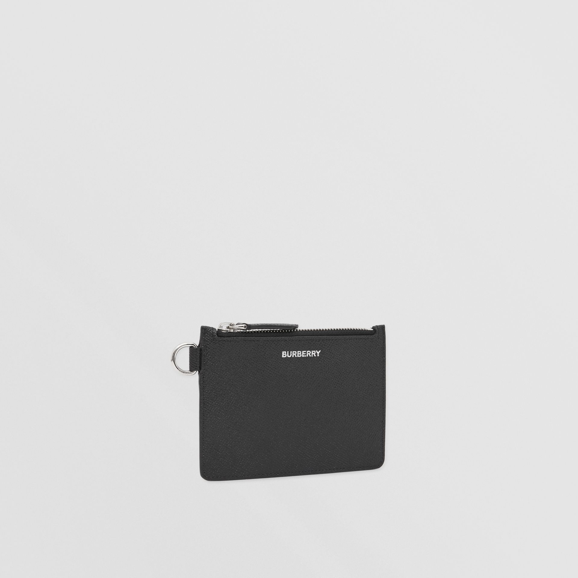 Grainy Leather Zip Coin Case in Black - Men | Burberry United Kingdom - gallery image 4