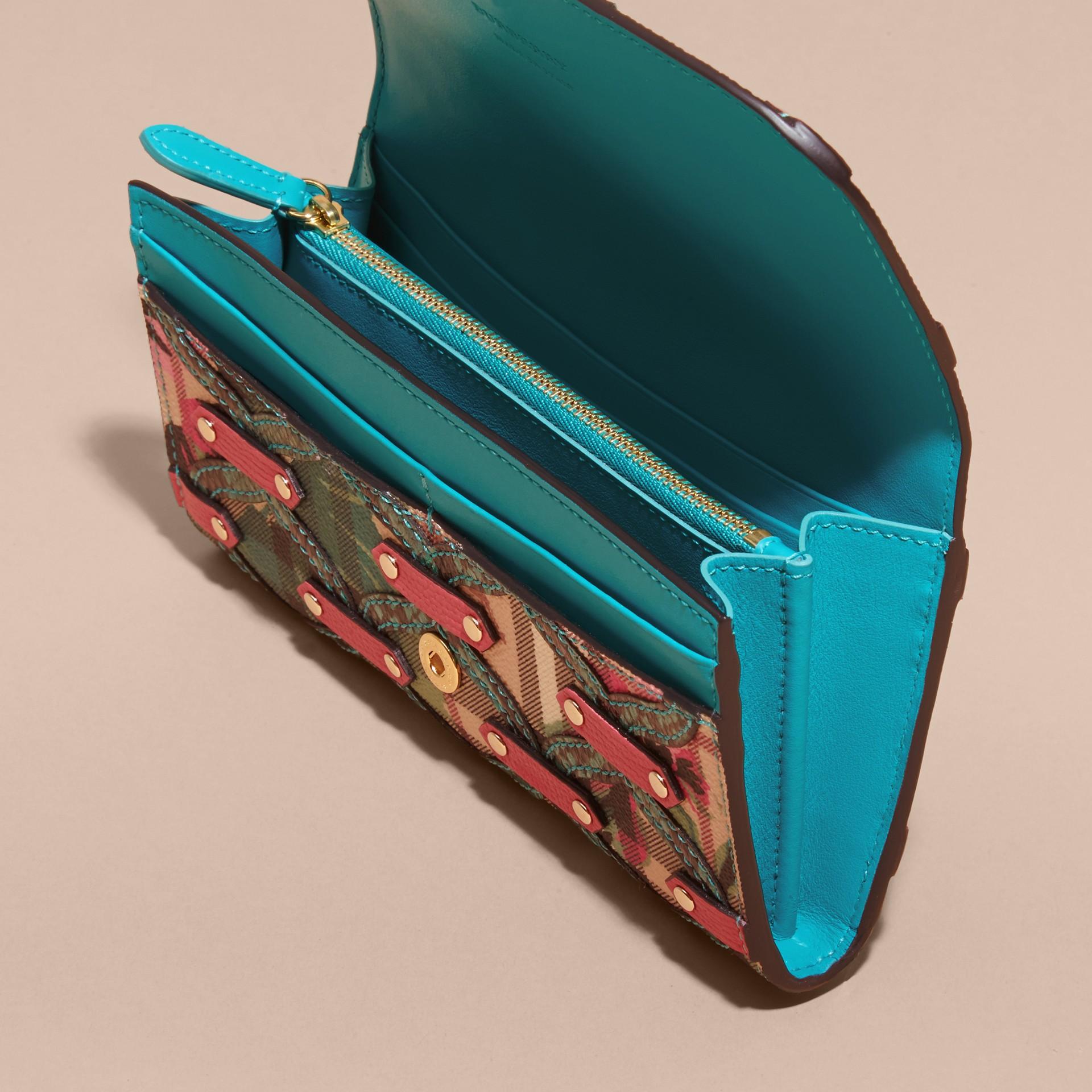 Snakeskin Appliqué Peony Rose Print Haymarket Check Continental Wallet in Plum Pink - gallery image 5