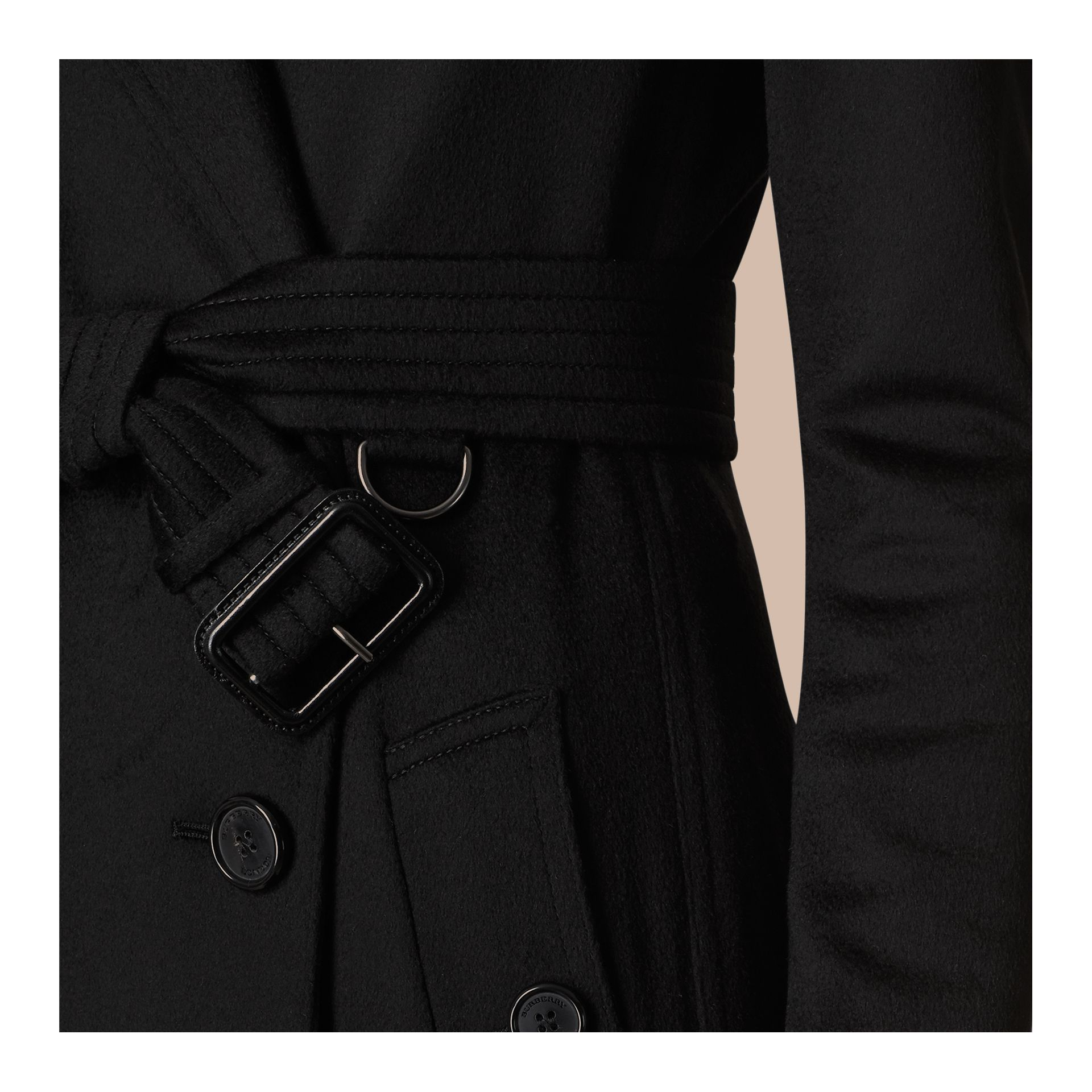 Black Kensington Fit Cashmere Trench Coat Black - gallery image 2