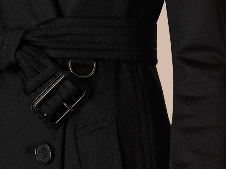Preto Trench coat de cashmere com corte Kensington Preto - cell image 1