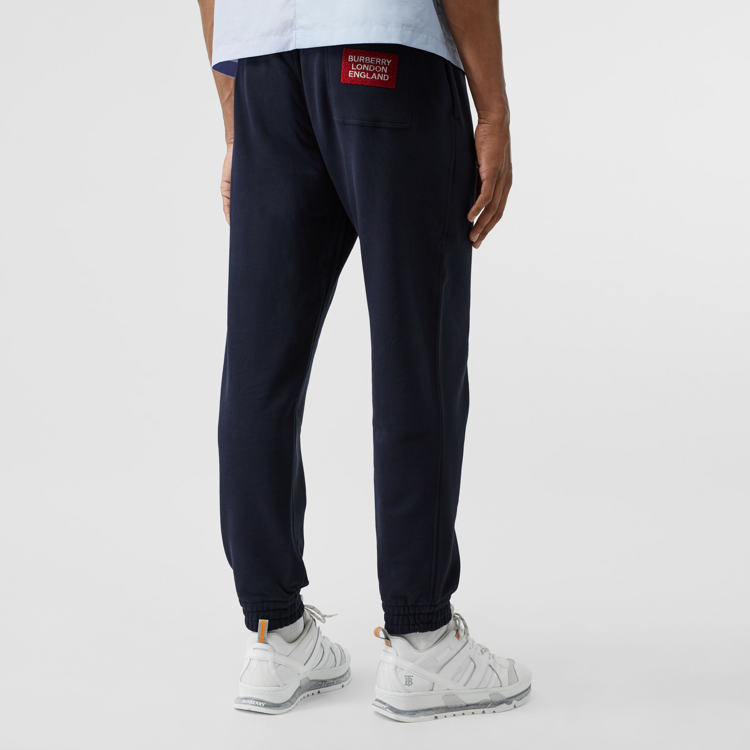 Logo Appliqué Cotton Trackpants in Navy - Men | Burberry - 3