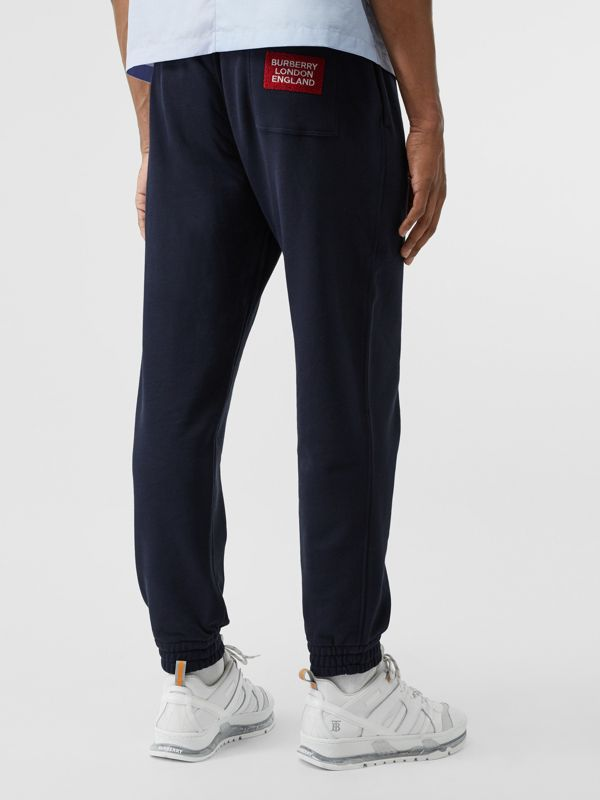 Logo Appliqué Cotton Trackpants in Navy - Men | Burberry - cell image 2