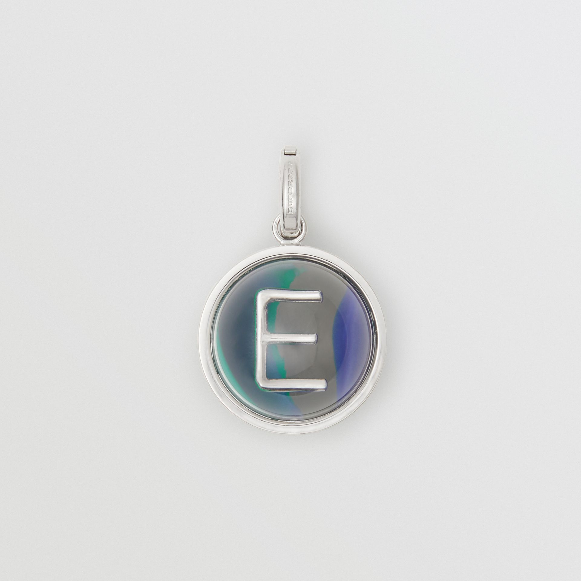 Marbled Resin 'E' Alphabet Charm in Palladio/ocean Blue - Women | Burberry - gallery image 0