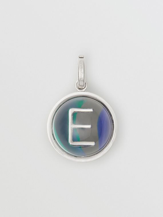 Marbled Resin 'E' Alphabet Charm in Palladio/ocean Blue