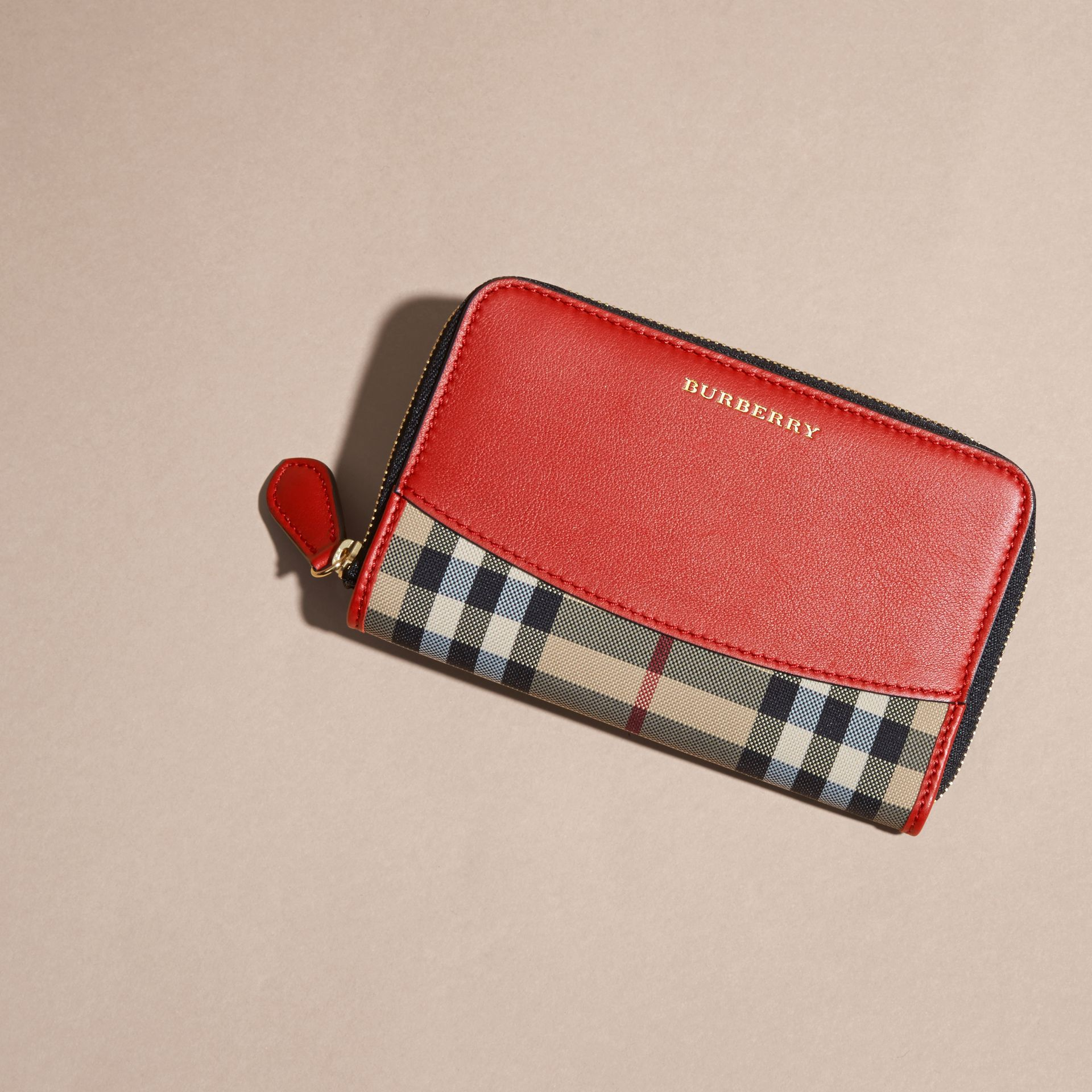 Horseferry Check and Leather Ziparound Wallet Parade Red - gallery image 3