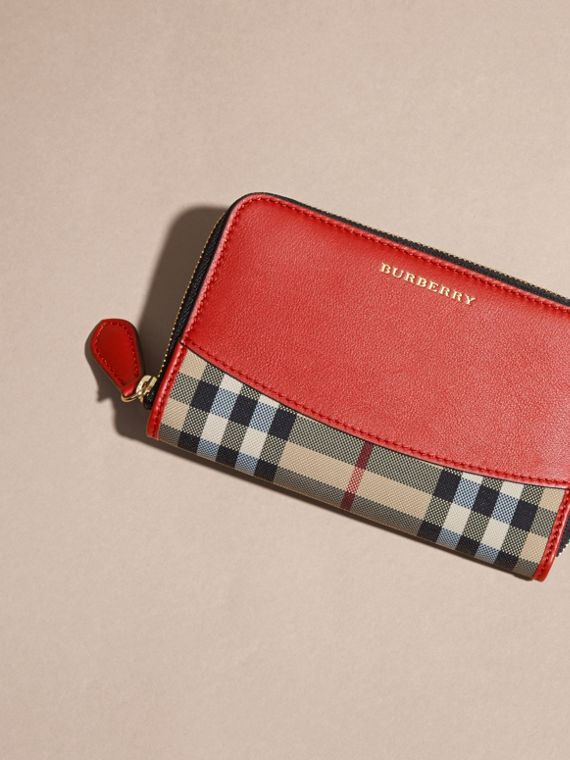 Horseferry Check and Leather Ziparound Wallet in Parade Red - cell image 2