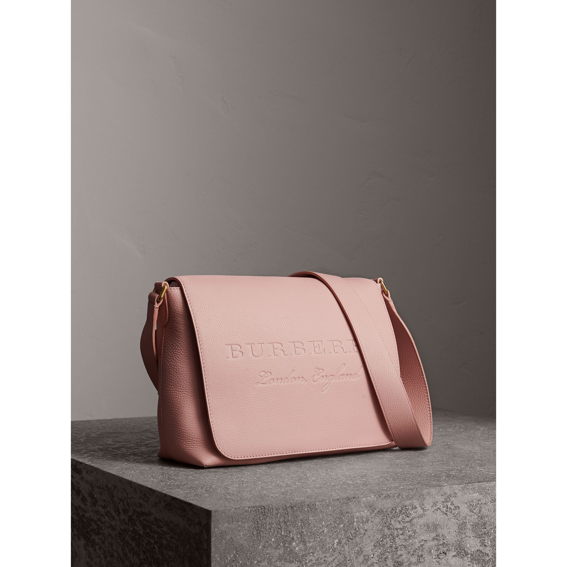 Medium Embossed Leather Messenger Bag in Pale Ash Rose - Women | Burberry - gallery image 6