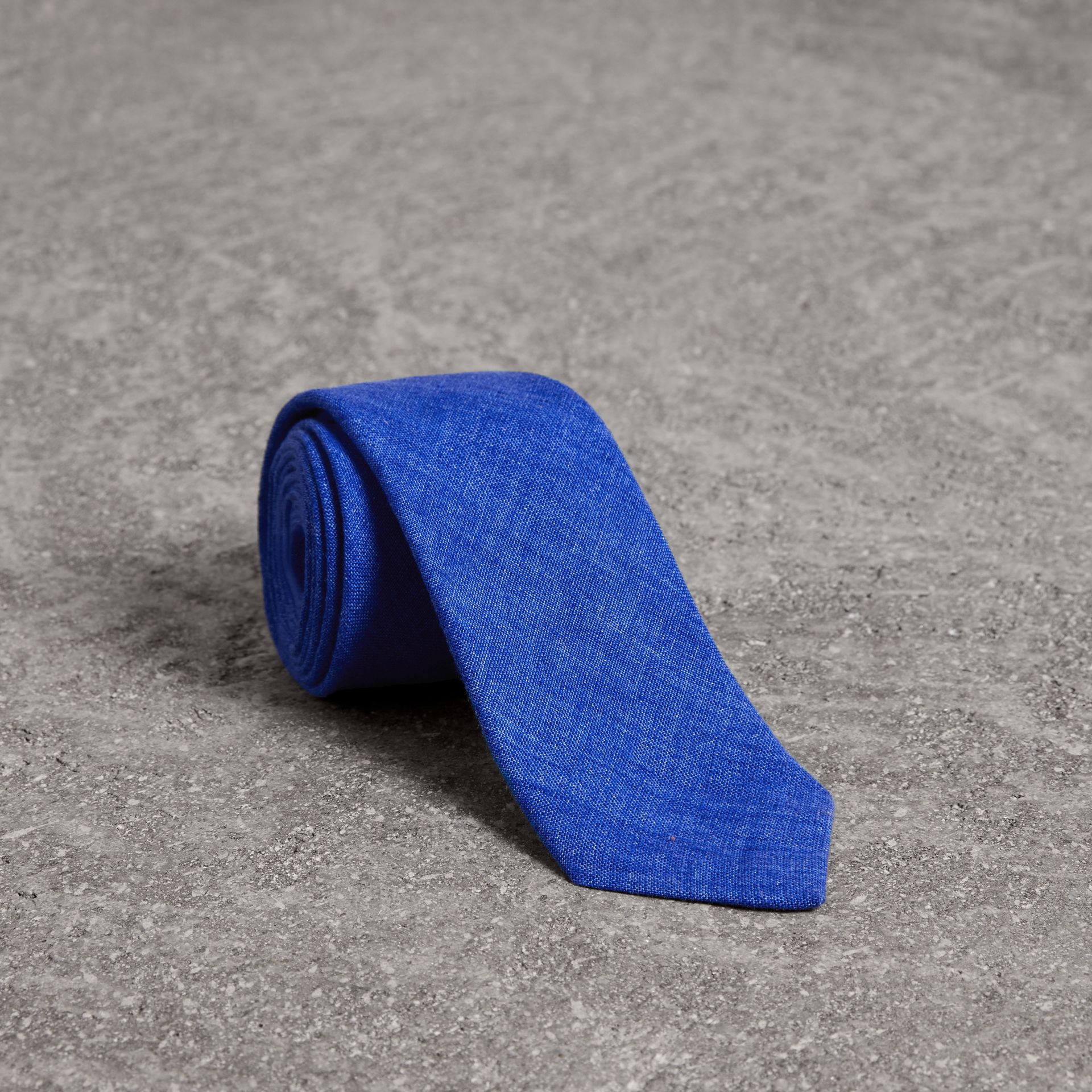 Slim Cut Linen Tie in Violet Blue - Men | Burberry - gallery image 0