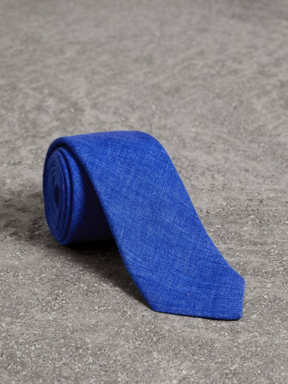 Slim Cut Linen Tie in Violet Blue