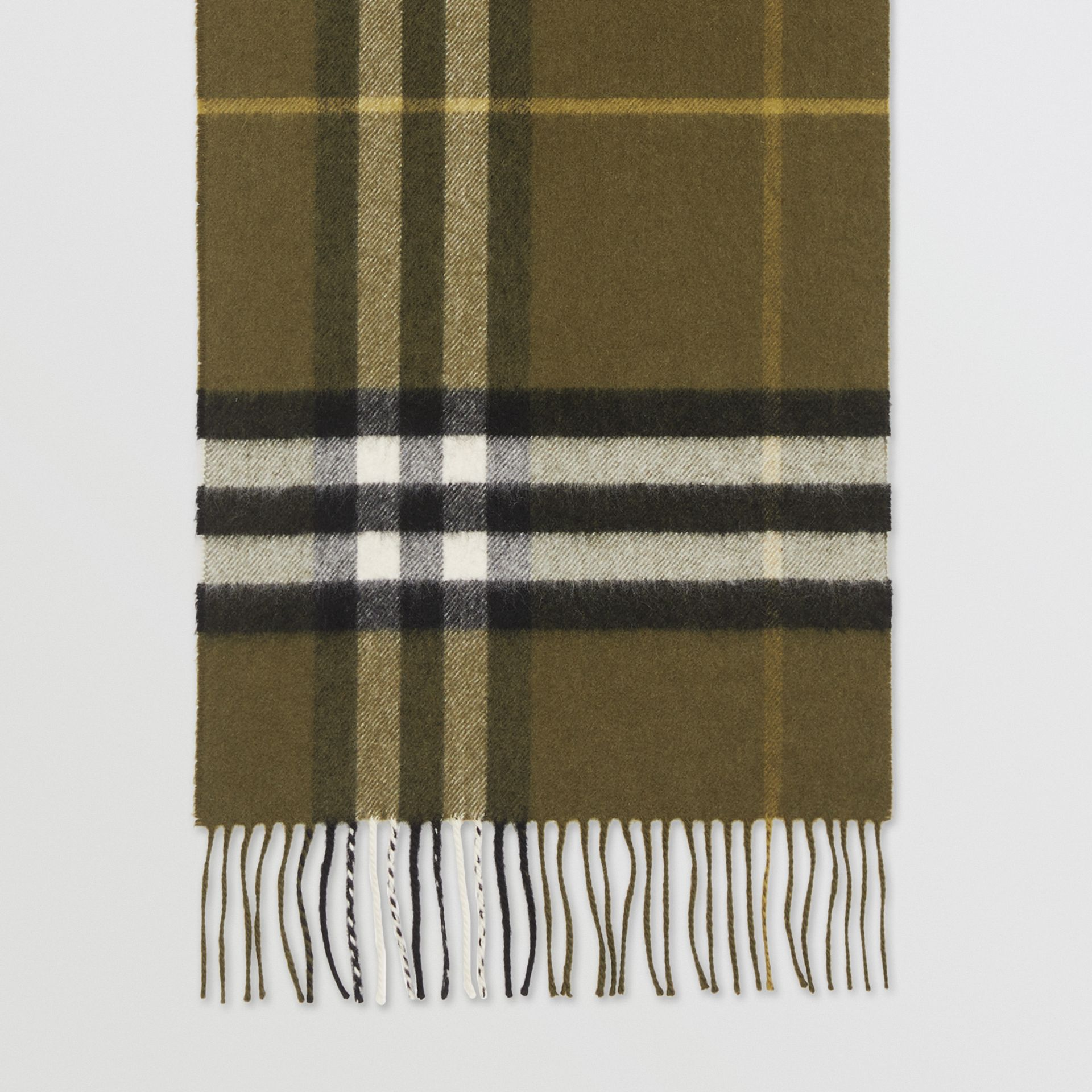 The Classic Check Cashmere Scarf in Olive Green | Burberry - gallery image 4