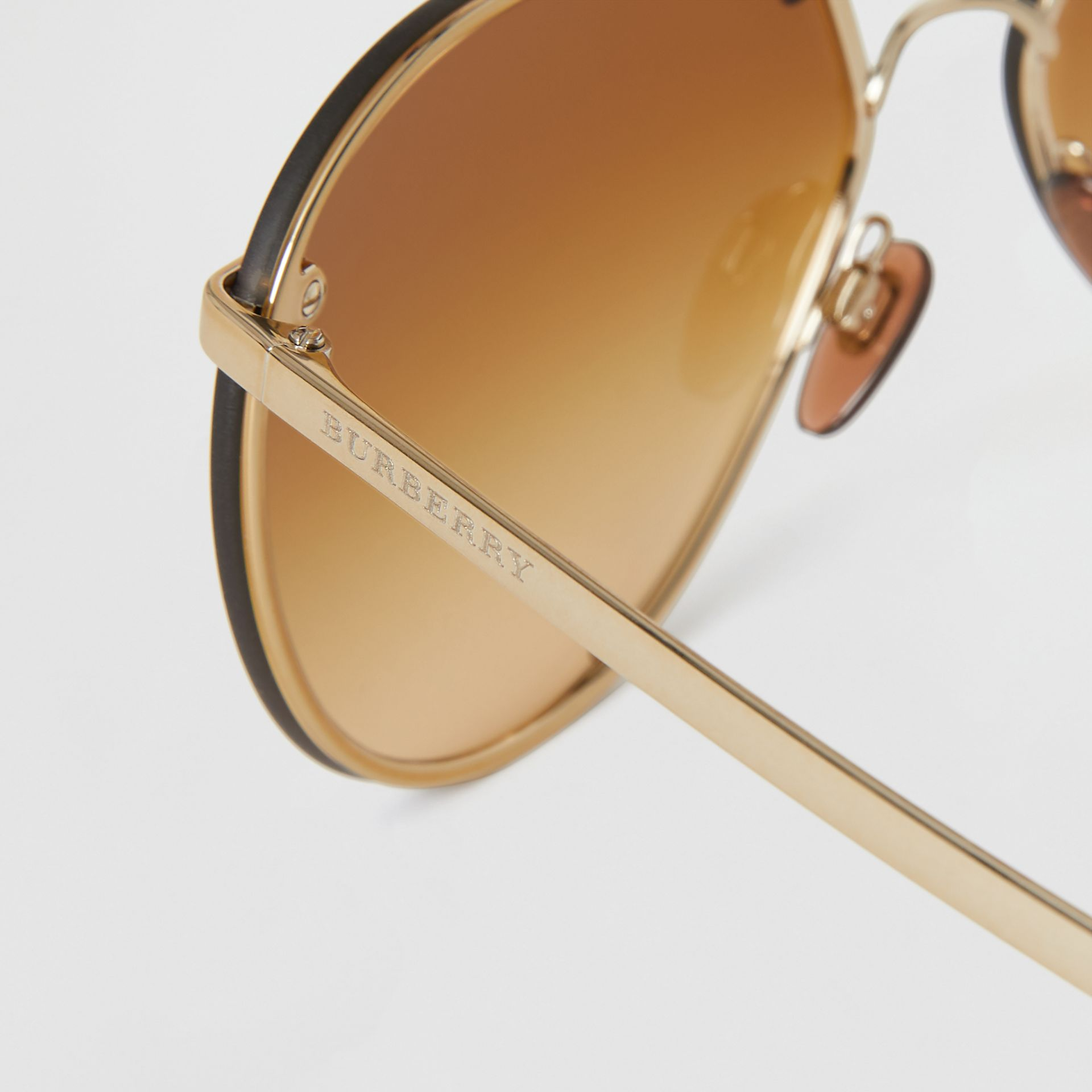 Check Detail Pilot Sunglasses in Brown - Women | Burberry Australia - gallery image 1