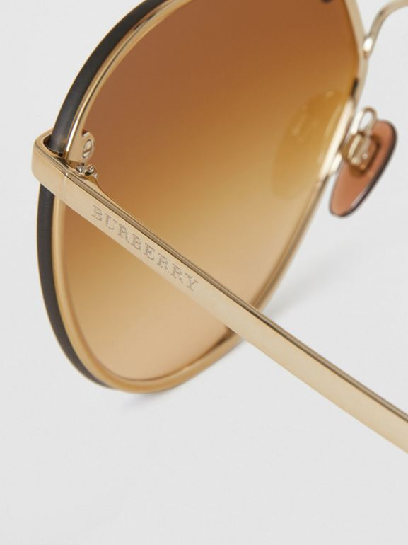 Check Detail Pilot Sunglasses in Brown - Women | Burberry - cell image 1