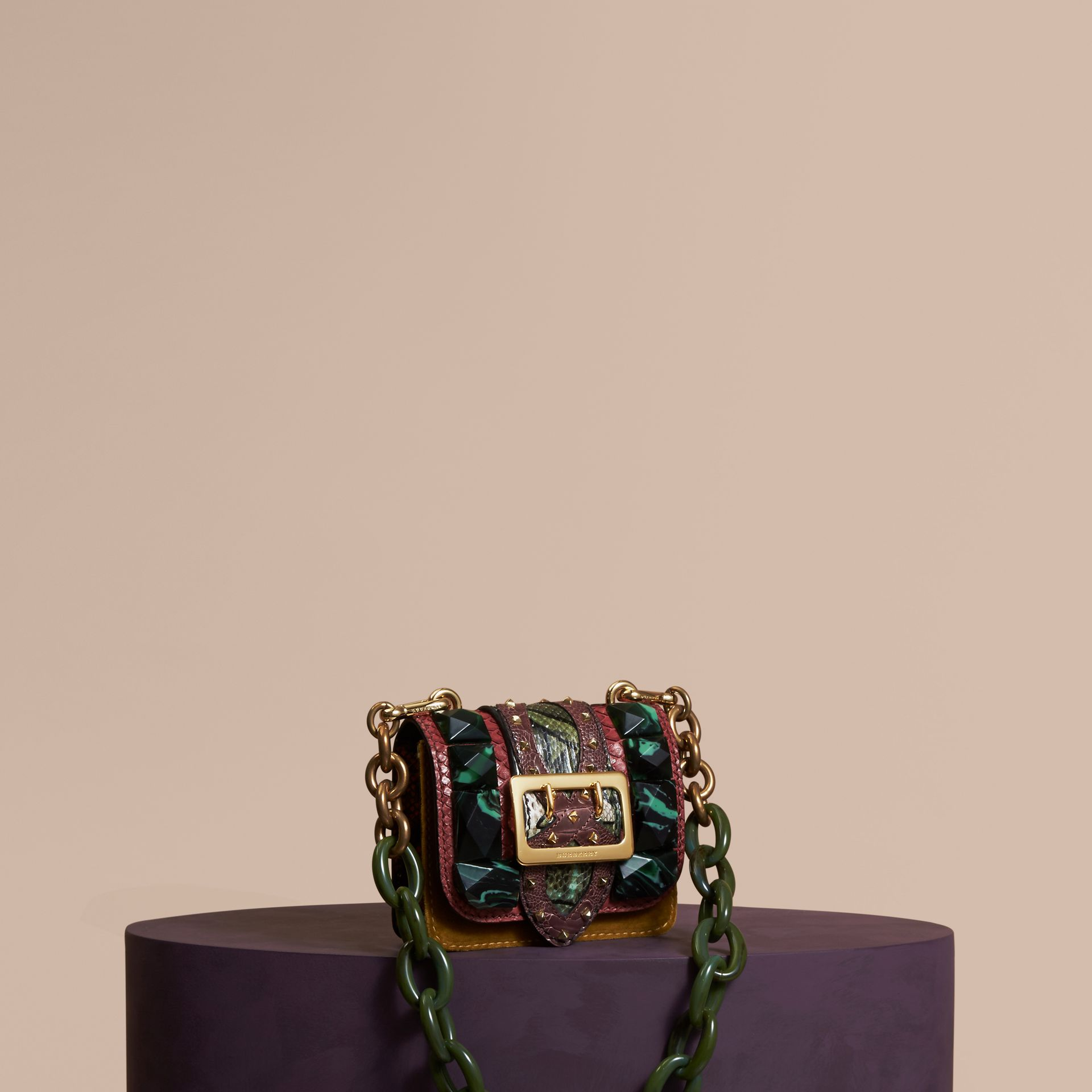 The Mini Square Buckle Bag in Velvet and Snakeskin Bordeaux - gallery image 1