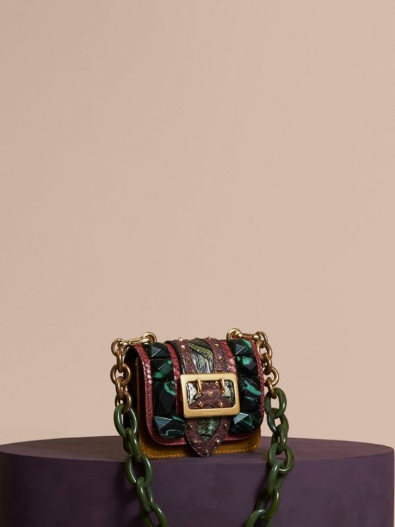 The Mini Square Buckle Bag in Velvet and Snakeskin Bordeaux