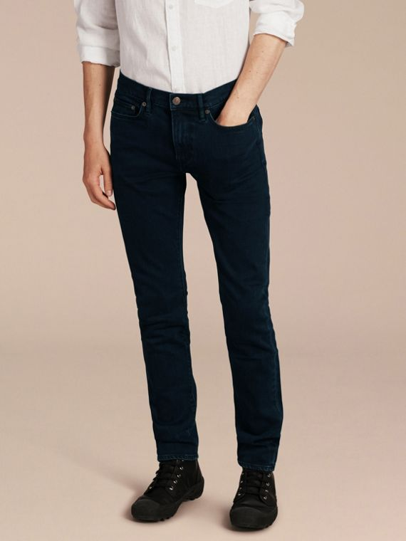 Slim Fit Over-dyed Stretch Jeans - Men | Burberry Singapore