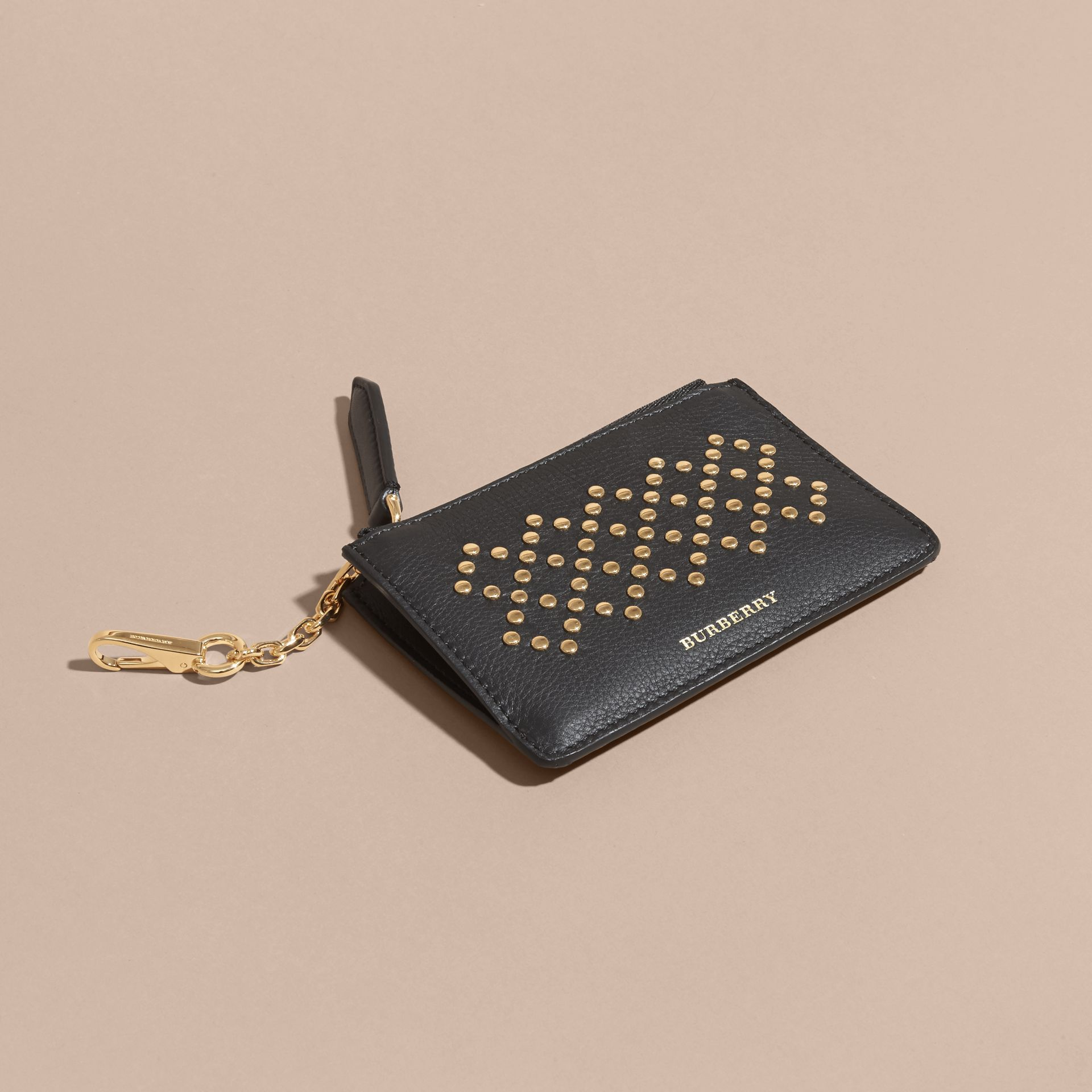 Riveted Grainy Leather Zip-top Wallet - gallery image 3