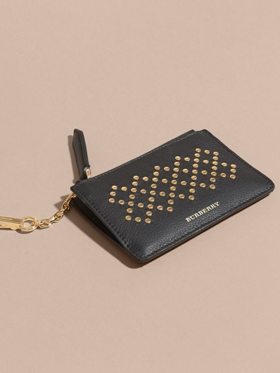 Riveted Grainy Leather Zip-top Wallet - cell image 2