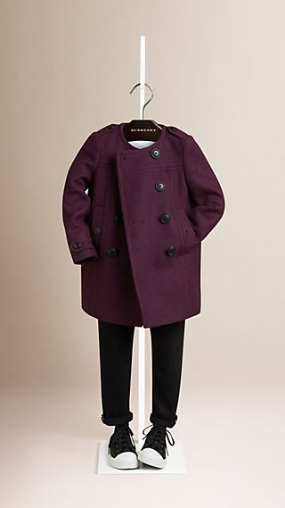 Collarless Wool Cashmere Blend Coat